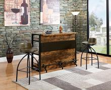 130071 Home bar unit antique nutmeg finish wood bar unit