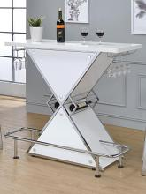 130078 Orren ellis lacoste modern style white and chrome finish metal triangle bar unit