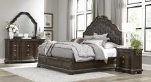 Homelegance 1407-4PC 4 pc Astorid grand beddington dark cherry finish wood queen bedroom set