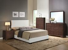Acme 14390Q 5 PC Ireland espresso finish wood white faux leather padded queen size bed set