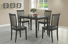 150152 5 pc oakdale espresso finish wood dining table set with wood seats