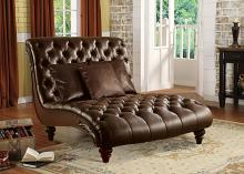 Acme 15035 Anondale 2 tone espresso vinyl armless chaise lounger tufted back and seats