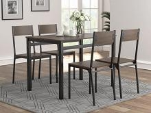 150505 5 pc Ebern designs iolo brown wood finish top dining table set