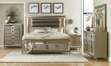 Homelegance 1515-4PC 4 pc Loudon champagne metallic finish wood faux leather embossed paneled bedroom set with led trim