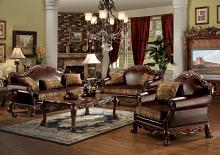 Acme 15160-61 2 pc Astoria grand bethnal dresden cherry oak finish wood fabric and faux leather sofa and love seat set
