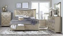 Homelegance 1522-1WF-4PC 4 pc Buou champagne metallic finish wood faux leather embossed paneled bedroom set with led trim