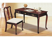 Cherry finish queen anne writing desk and chair set.