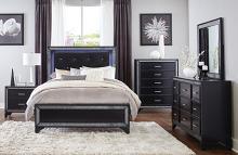 Homelegance 1572BK-4PC 4 pc Salon black pearlescent finish wood glitter trim queen bedroom set with led trim