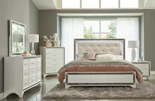 Homelegance 1572W-4PC 4 pc Salon white pearlescent finish wood glitter trim queen bedroom set with led trim