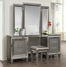 Home Elegance 1616-14-15 3 pc Allura gray finish wood bedroom make up vanity set