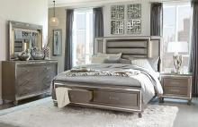 Homelegance 1616-4PC 4 pc Tamsin silver gray metallic finish wood mirrored trim queen bedroom set with led trim