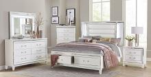 Homelegance 1616W-4PC 4 pc Tamsin white metallic finish wood mirrored trim queen bedroom set with led trim