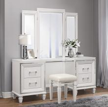 Homelegance 1616W-14-15 3 pc Allura white metallic finish wood bedroom make up vanity set