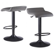 16232 Tarah Adjustable Swivel Stools, 2-Pc Set, Black & Slate Gray