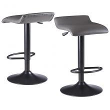 16232 Tarah Adjustable Swivel Stools, 2-Pc Set, Black & Slate Gray