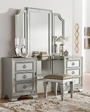 Homelegance 1646-14-15 3 pc Avondale silver finish wood bedroom make up vanity set mirrored trim
