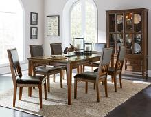 7 pc Frazier cherry brown finish wood leatherette padded seats dining table set