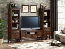 "16490-S 3 pc Frazier park cherry finish wood tv entertainment center tv 59"" stand with side piers"