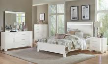 Homelegance 1678W-4PC 4 pc Kerren white high gloss finish wood faux leather queen bedroom set with led