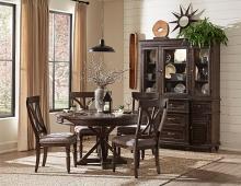 """5 pc Cardano driftwood charcoal finish wood 54"""" round trestle base dining table set"""