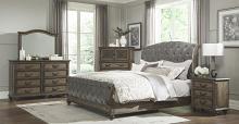 Homelegance 1693-4PC 4 pc Astoria grand rachelle weathered pecan finish wood queen bedroom set