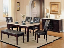6 pc Britney white marble top dining table set with brown leather like vinyl upholstered parson chairs