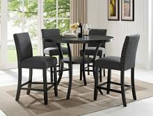 "1713DGY-T-48 5 pc Gracie oaks amy wallace dark gray finish wood round 48"" counter height dining table set"