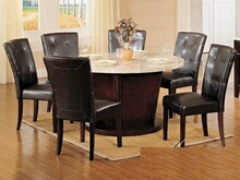 7 pc Britney white marble round top dining table set with brown leather like vinyl upholstered parson chairs