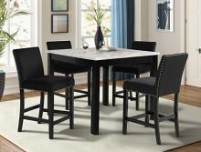 1715SET 5 pc Gracie oaks lennon dark finish faux marble top counter height dining table set black velvet chairs
