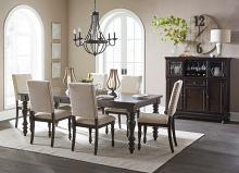 Homelegance HE-1718GY-90 7 pc Begonia gray finish wood dining table set fabric padded seats and back