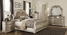 Homelegance 1757SV-4PC 4 pc Astoria grand Cavalier silver finish wood ornate sleigh bedroom set