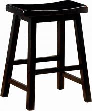 """180019 Set of 2 Terrence black farmhouse 24"""" counter height seat country style stools"""