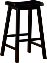 "Set of 2 black finish wood 29"" bar height seat country style farmhouse style stools"
