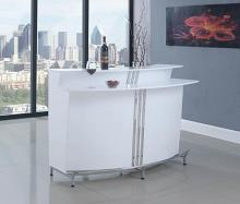 180239 Home bar unit modern style white and chrome finish metal curved front bar unit