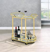 181050 Brass metal frame mirror glass shelves tea serving cart with casters
