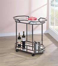 181051 Black nickel metal frame mirror glass shelves tea serving cart with casters