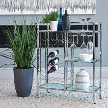181370 Clear glass and chrome tea serving cart with casters