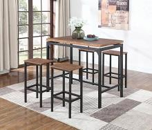 182002 5 pc Wrought studio devon weathered chestnut finish wood and matte black frame table set