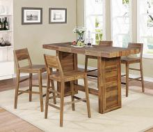 182191 5 pc Foundry select raeann rustic tucson varied natural finish wood bar height dining table set