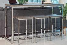 182255 4 pc Topline Marmot dark oak finish wood chrome frame counter height dining / bar table set