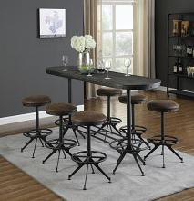 182271 7 pc 17 stories oval bar table wire brushed black finish wood bar height narrow table set