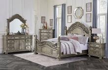 Homelegance 1824PG-4PC 4 pc Catalonia platinum gold finish wood ornate queen bedroom set