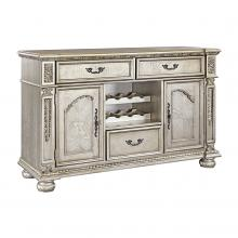 Homelegance 1824PG-40 Astoria grand catalonia platinum finish wood dining server with wine rack console cabinet