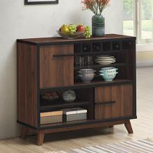 182873 Williston forge ignacio walnut and black finish wood wine cabinet unit