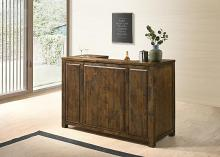 182875 The gray barn gold creek rystic oak finish wood bar unit with wine bottle and glass storage