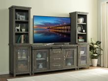 VH-1854-1857 3 pc August grove geers industrial charms antique grey finish wood entertainment center TV stand
