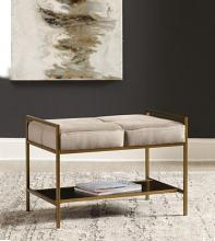 223116 Mercer 41 tocoloma warm grey velvet brass frame mid century modern bedroom entry bench