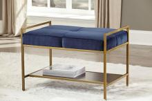 223117 Mercer 41 teddy blue velvet brass frame mid century modern bedroom entry bench