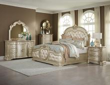 Home Elegance 1919NC-5PC 5 pc antoinetta collection champagne finish wood and dark brown padded headboard bedroom set