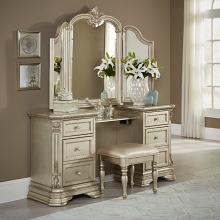 Homelegance HE-1919NC-14-15 3 pc antoinetta champagne finish wood bedroom make up vanity and stool set